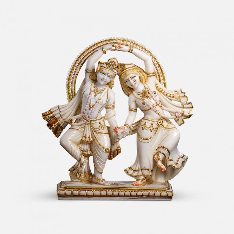Radha Krishna Ras Marble Murti