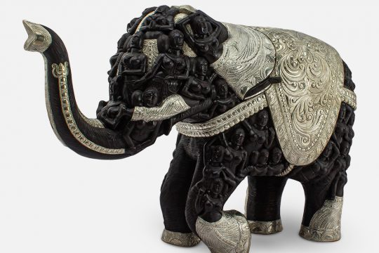 WOOD WITH METAL UP TRUNK ELEPHANT