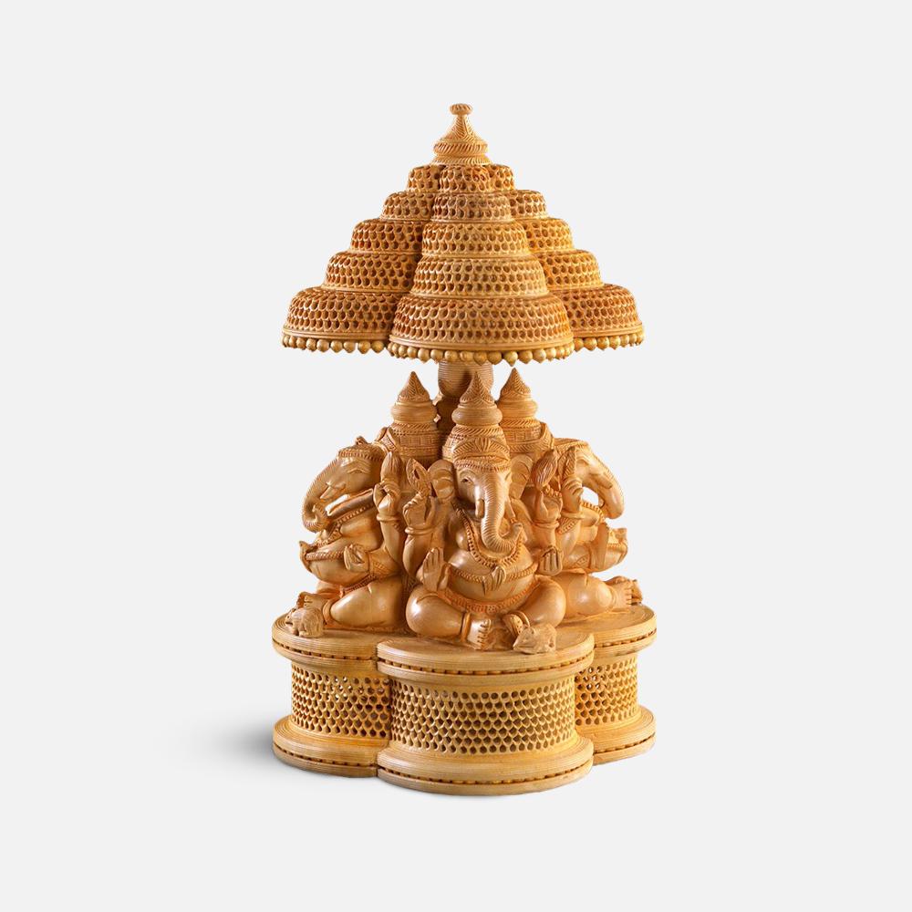 Wooden Ganesha Rakshak Murti