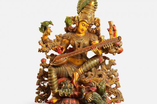 Goddess Saraswati Marble Dust Statue