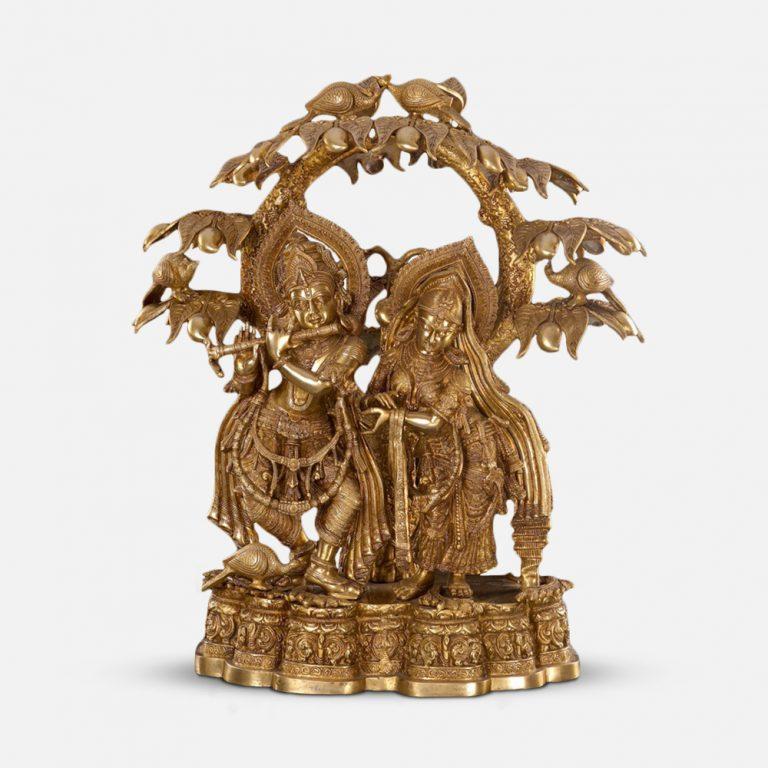 Kalpavriksha Radha Krishna Brass Statue