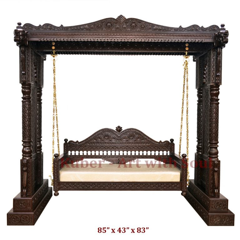 Indian Swing, Traditional Carved Wooden Jhula, Jhoola for Garden